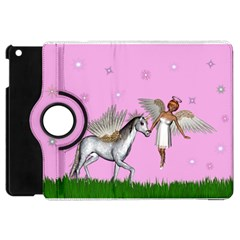 Unicorn And Fairy In A Grass Field And Sparkles Apple Ipad Mini Flip 360 Case by goldenjackal