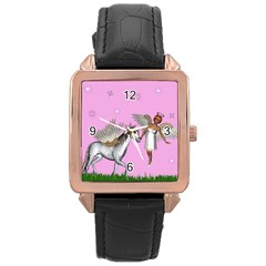 Unicorn And Fairy In A Grass Field And Sparkles Rose Gold Leather Watch  by goldenjackal
