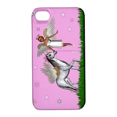 Unicorn And Fairy In A Grass Field And Sparkles Apple Iphone 4/4s Hardshell Case With Stand by goldenjackal