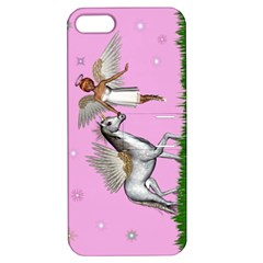 With A Unicorn And Fairy In A Grass Field And Sparkles Apple Iphone 5 Hardshell Case With Stand by goldenjackal