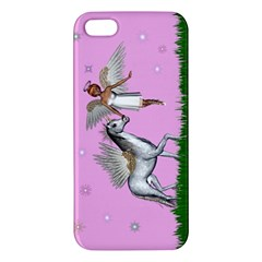 Unicorn And Fairy In A Grass Field And Sparkles Iphone 5 Premium Hardshell Case by goldenjackal