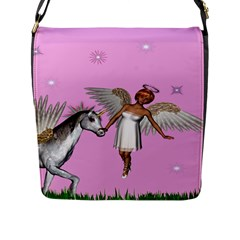 Unicorn And Fairy In A Grass Field And Sparkles Flap Closure Messenger Bag (large) by goldenjackal