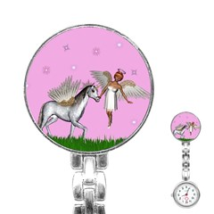 Unicorn And Fairy In A Grass Field And Sparkles Stainless Steel Nurses Watch