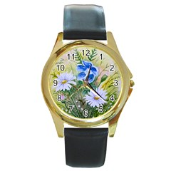 Meadow Flowers Round Leather Watch (gold Rim)  by ArtByThree