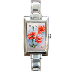 Poppies Rectangular Italian Charm Watch by ArtByThree