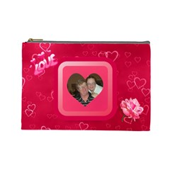 Love Large Cosmetic Bag By Joy Johns   Cosmetic Bag (large)   Psw2bq1ui6h7   Www Artscow Com Front