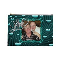 Aqua Love Large Cosmetic Bag By Joy Johns   Cosmetic Bag (large)   Gfem7z4pfspj   Www Artscow Com Front