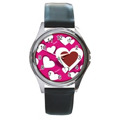 Valentine Hearts  Round Leather Watch (silver Rim) by Colorfulart23