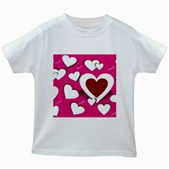 Valentine Hearts  Kids T Shirt (white) by Colorfulart23