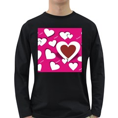 Valentine Hearts  Men s Long Sleeve T Shirt (dark Colored) by Colorfulart23