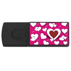 Valentine Hearts  4GB USB Flash Drive (Rectangle) by Colorfulart23