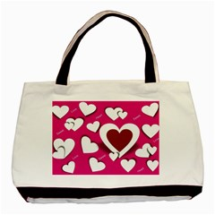 Valentine Hearts  Twin Sided Black Tote Bag by Colorfulart23