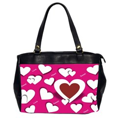 Valentine Hearts  Oversize Office Handbag (two Sides) by Colorfulart23
