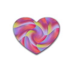 Colored Swirls Drink Coasters (heart) by Colorfulart23