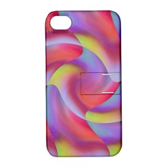 Colored Swirls Apple Iphone 4/4s Hardshell Case With Stand by Colorfulart23