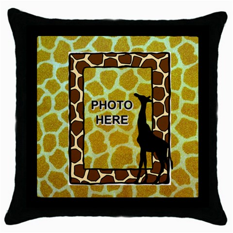 Giraffe Throw Pillow Case, Black By Joy Johns   Throw Pillow Case (black)   3153wtfdhj6c   Www Artscow Com Front