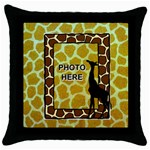 Giraffe throw pillow case, black - Throw Pillow Case (Black)
