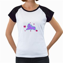 Pink Diva Women s Cap Sleeve T Shirt (white)