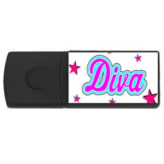 Pink Diva 2GB USB Flash Drive (Rectangle) by Colorfulart23