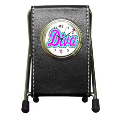 Pink Diva Stationery Holder Clock