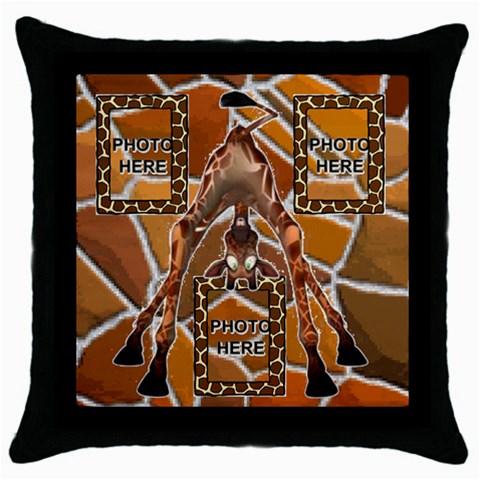 Giraffe Throw Pillow Case, Black #2 By Joy Johns   Throw Pillow Case (black)   Rxwrqo18slev   Www Artscow Com Front