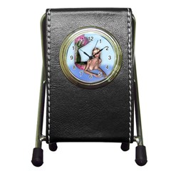 Mermaid On The Beach Stationery Holder Clock by goldenjackal