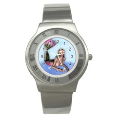 Mermaid On The Beach Stainless Steel Watch (slim) by goldenjackal