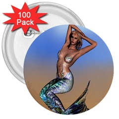 Sexy Mermaid On Beach 3  Button (100 Pack) by goldenjackal