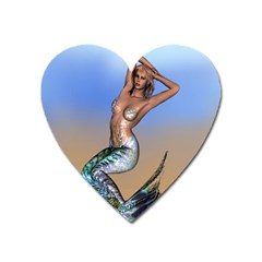 Sexy Mermaid On Beach Magnet (heart) by goldenjackal