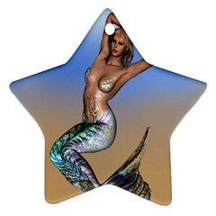 Sexy Mermaid On Beach Star Ornament (two Sides) by goldenjackal