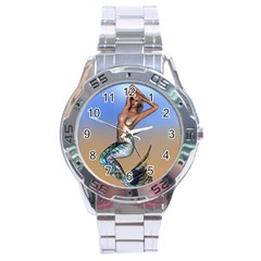 Sexy Mermaid On Beach Stainless Steel Watch