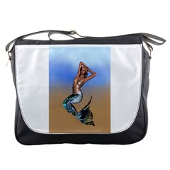 Sexy Mermaid On Beach Messenger Bag by goldenjackal