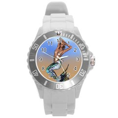 Sexy Mermaid On Beach Plastic Sport Watch (large) by goldenjackal