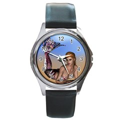 Mermaid On The Beach  Round Leather Watch (silver Rim) by goldenjackal