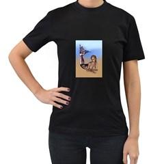 Mermaid On The Beach  Women s Two Sided T Shirt (black)