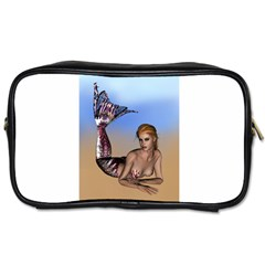 Mermaid On The Beach  Travel Toiletry Bag (one Side) by goldenjackal