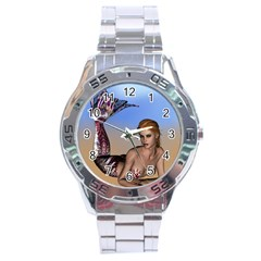 Mermaid On The Beach  Stainless Steel Watch by goldenjackal