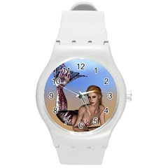Mermaid On The Beach  Plastic Sport Watch (medium) by goldenjackal