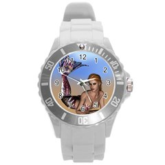 Mermaid On The Beach  Plastic Sport Watch (large) by goldenjackal