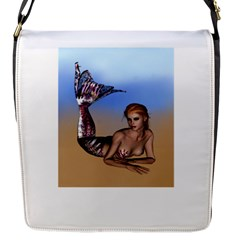 Mermaid On The Beach  Flap Closure Messenger Bag (small) by goldenjackal