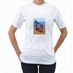 Mermaid On The Beach  Women s T Shirt (white)  by goldenjackal