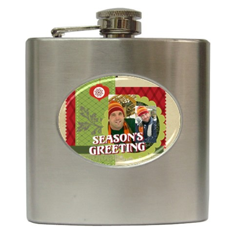 Xmas By Merry Christmas   Hip Flask (6 Oz)   E011bsngkjcu   Www Artscow Com Front