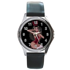 Miss Bunny In Red Lingerie Round Leather Watch (silver Rim)