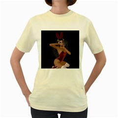 Miss Bunny In Red Lingerie Women s T Shirt (yellow)