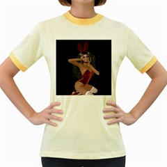 Miss Bunny In Red Lingerie Women s Ringer T Shirt (colored) by goldenjackal