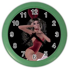 Miss Bunny In Red Lingerie Wall Clock (color) by goldenjackal