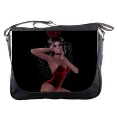 Miss Bunny In Red Lingerie Messenger Bag by goldenjackal