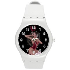 Miss Bunny In Red Lingerie Plastic Sport Watch (medium) by goldenjackal