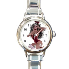 Miss Bunny In Red Lingerie Round Italian Charm Watch