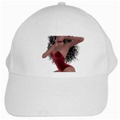 Miss Bunny In Red Lingerie White Baseball Cap